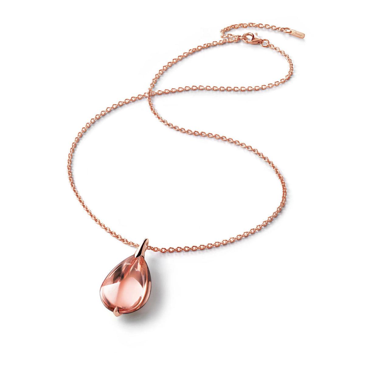 Baccarat Crystal Fleur De Psydelic Light Pink Rose Gold Vermeil Pendant Necklace