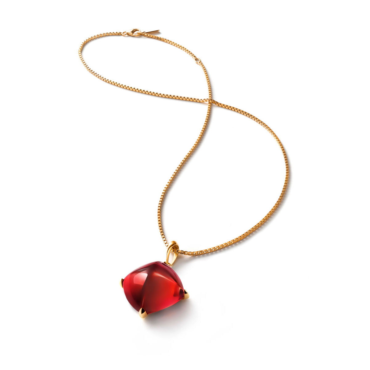 Baccarat Medicis Large Necklace Vermeil Gold, Red Mirror