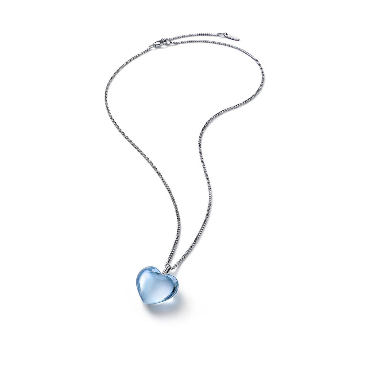 Baccarat Crystal Romance Pendant Necklace Small Silver Light Blue Mirror
