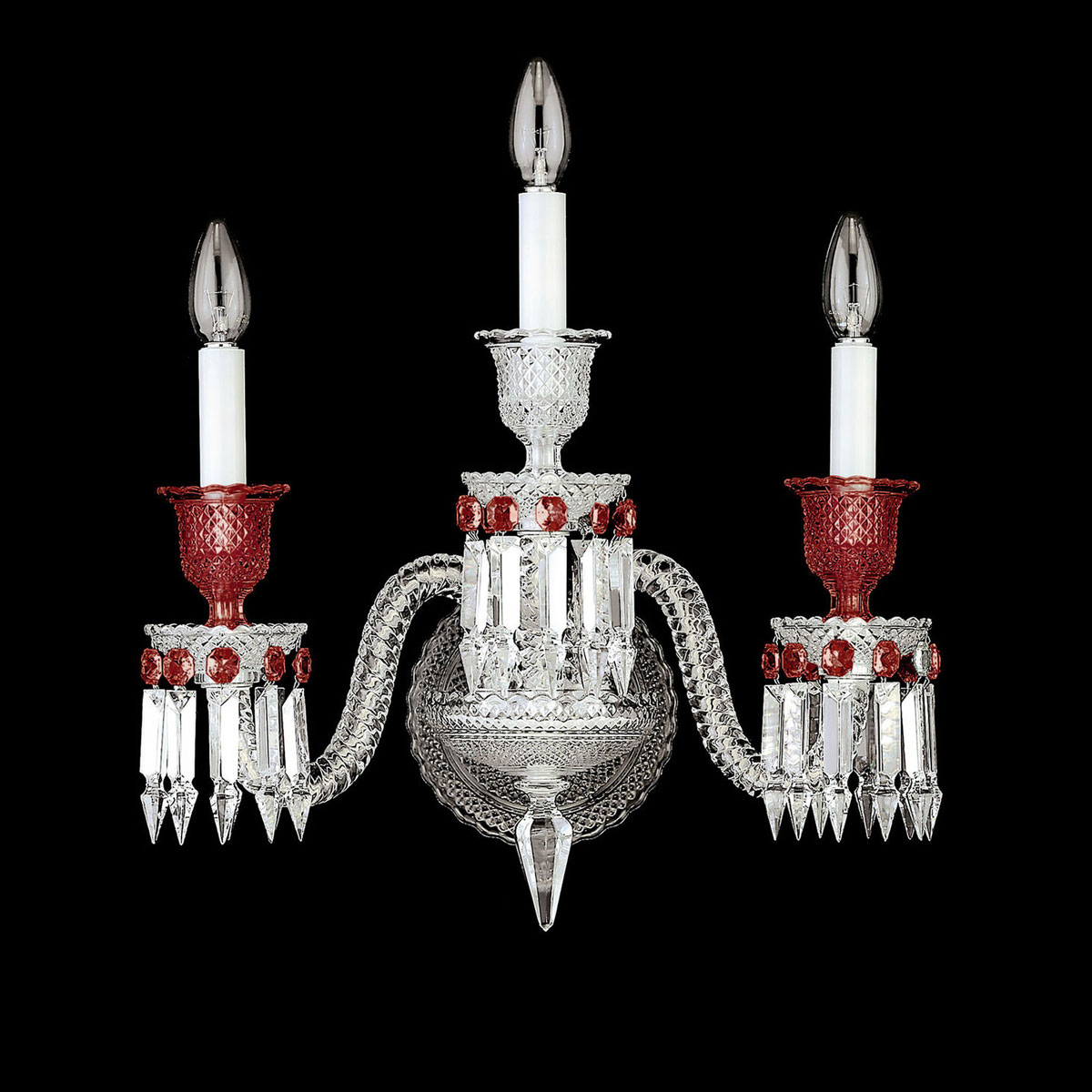 Baccarat Crystal, Zenith 3 Light Wall Crystal Sconce, Clear and Red
