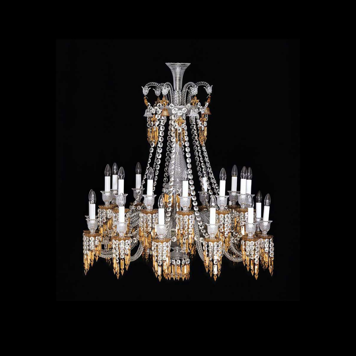 Baccarat Crystal, Zenith Charleston 24 Light Chandelier, Short