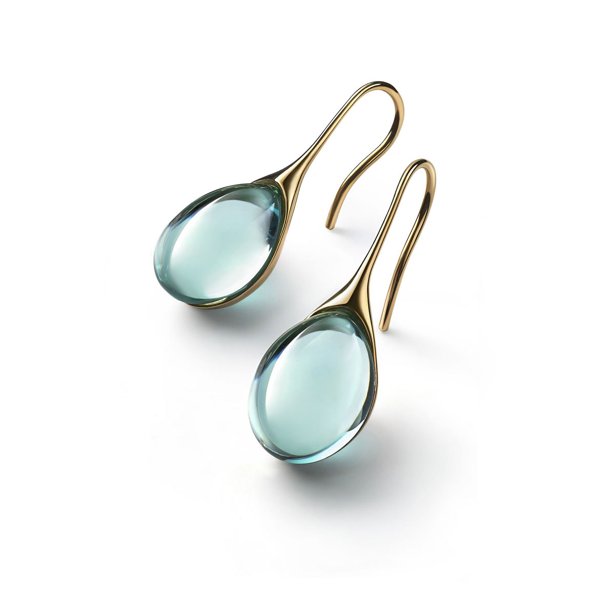 Baccarat Crystal Galea Wire Earrings Vermeil Gold Turquoise