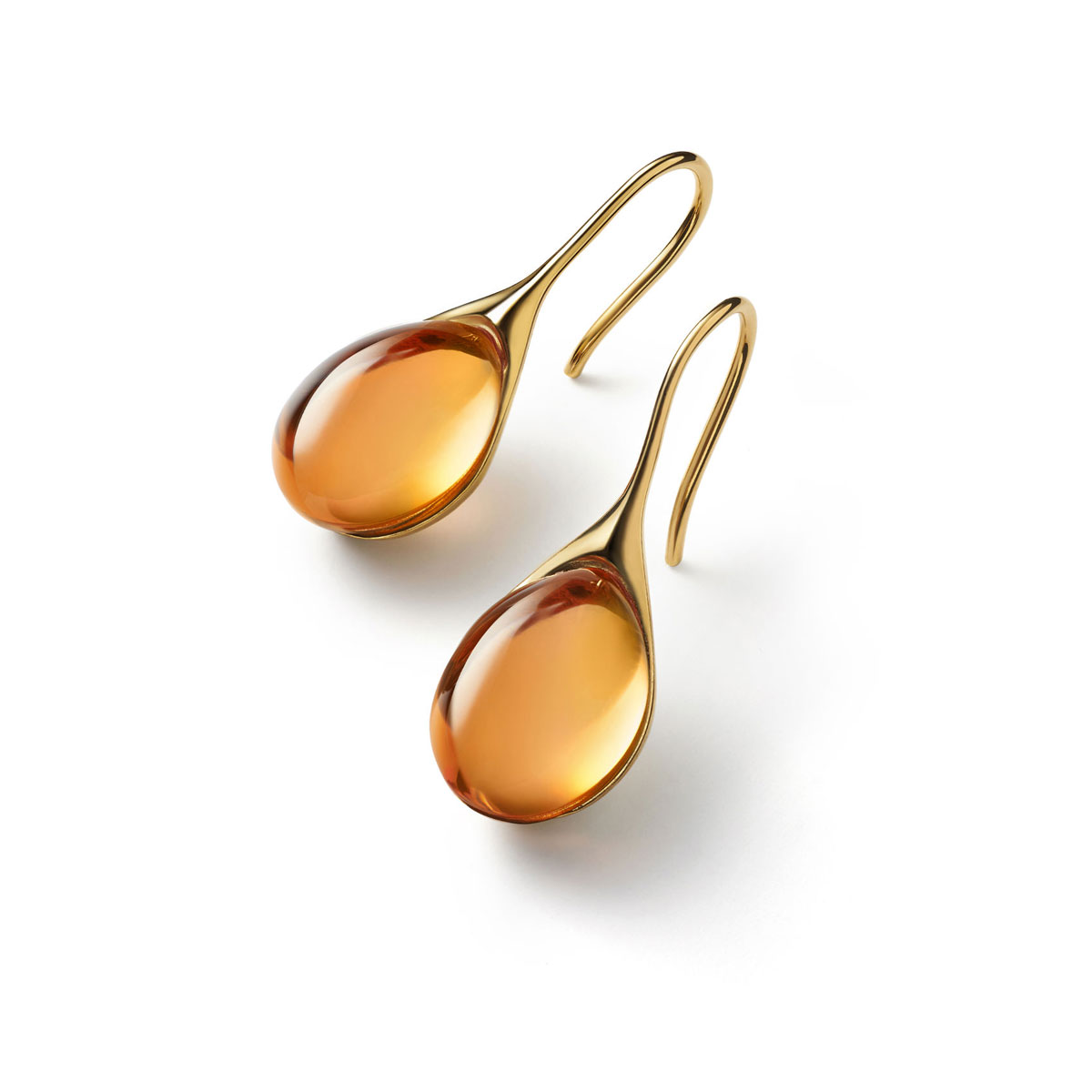 Baccarat Crystal Galea Wire Earrings Vermeil Gold Honey