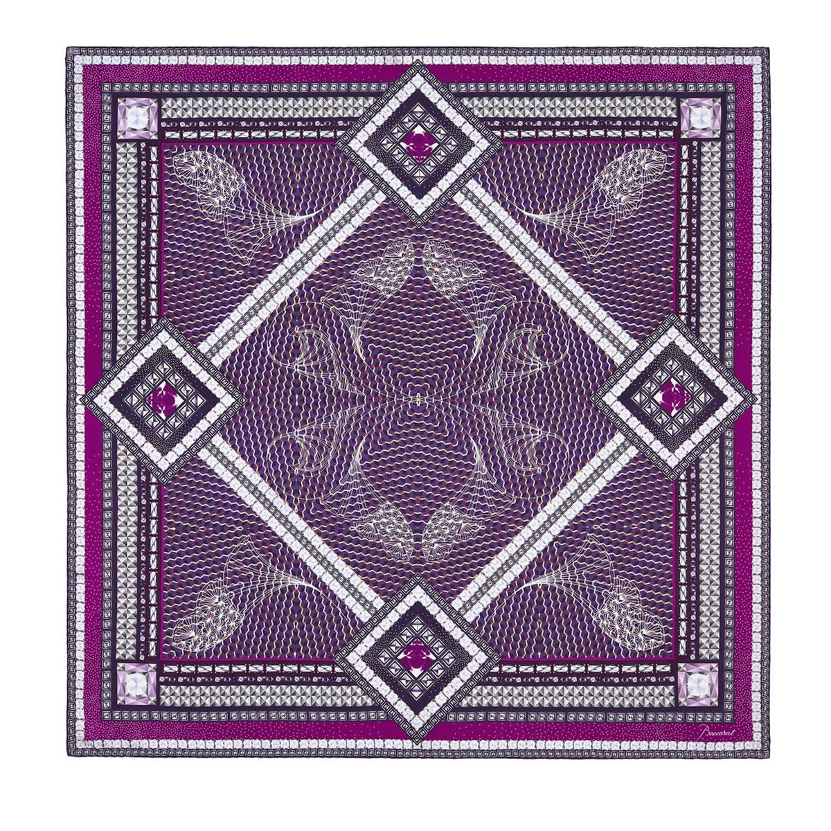 "Baccarat Louxor Silk Twill Scarf Carre 39"" X 39"", Purple"
