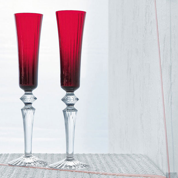 Baccarat Crystal, Mille Nuits Flutissimo Crystal Flutes, Red, Pair