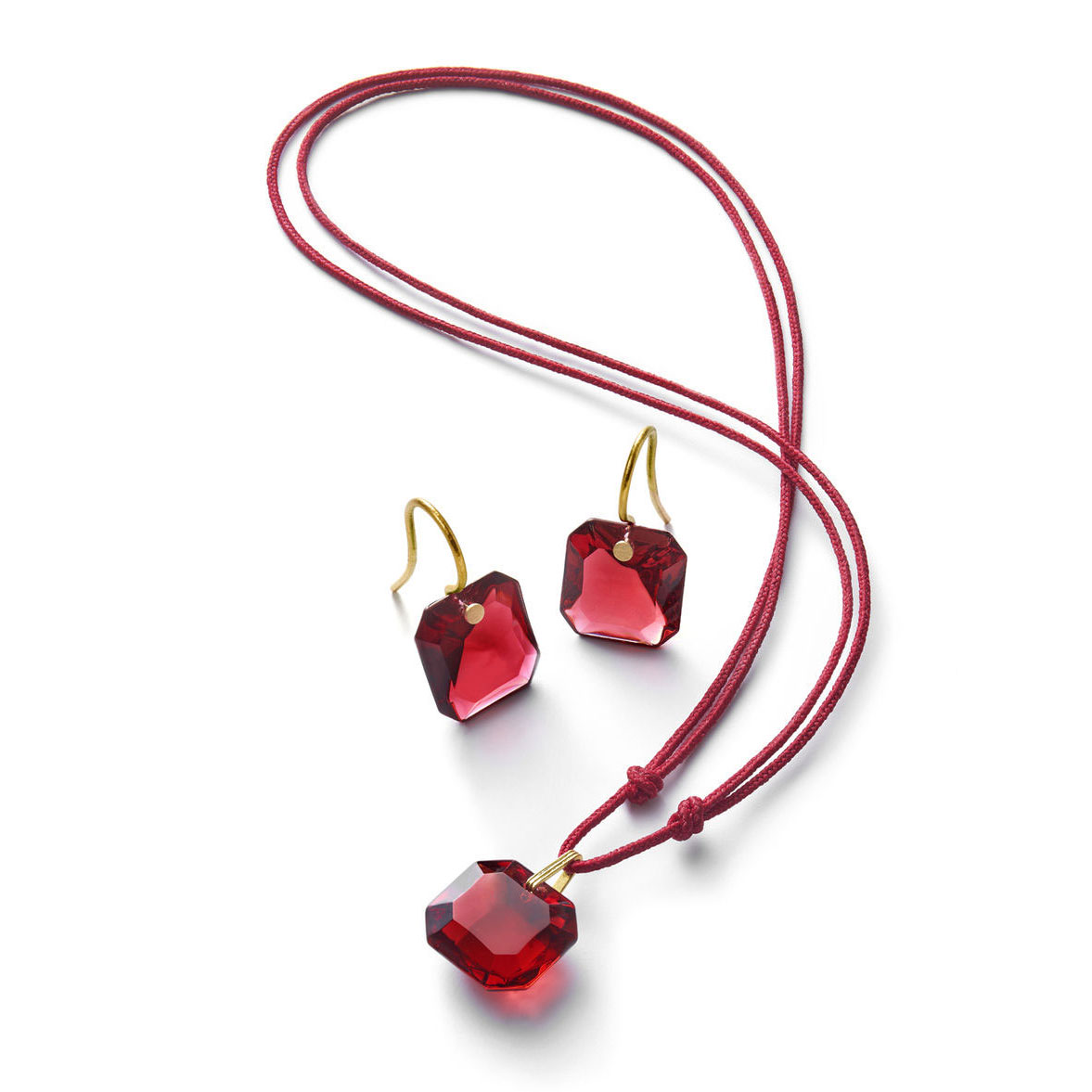 Baccarat Crystal Marie-Helene De Taillac Earrings Small Wire Vermeil Gold Red