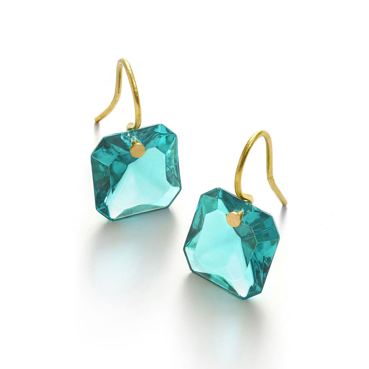 Baccarat Crystal Marie-Helene De Taillac Earrings Small Wire Vermeil Gold Turquoise