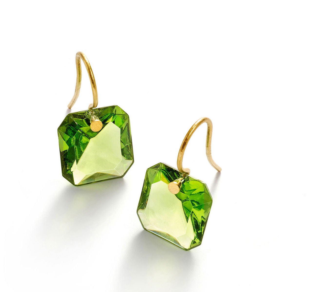 Baccarat Crystal Marie-Helene De Taillac Earrings Small Wire Vermeil Gold Green