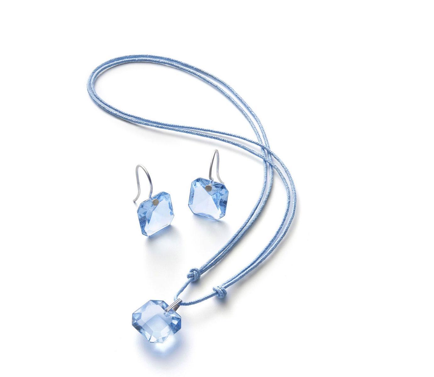Baccarat Crystal Marie-Helene De Taillac Earrings Small Wire Sterling Silver Light Blue