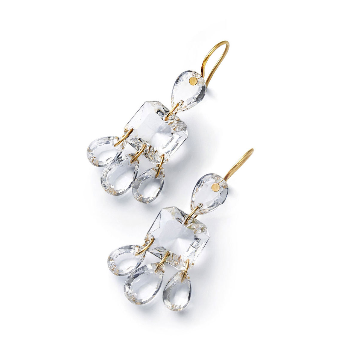 Baccarat Crystal Marie-Helene De Taillac Earrings Large Wire Vermeil Gold Clear
