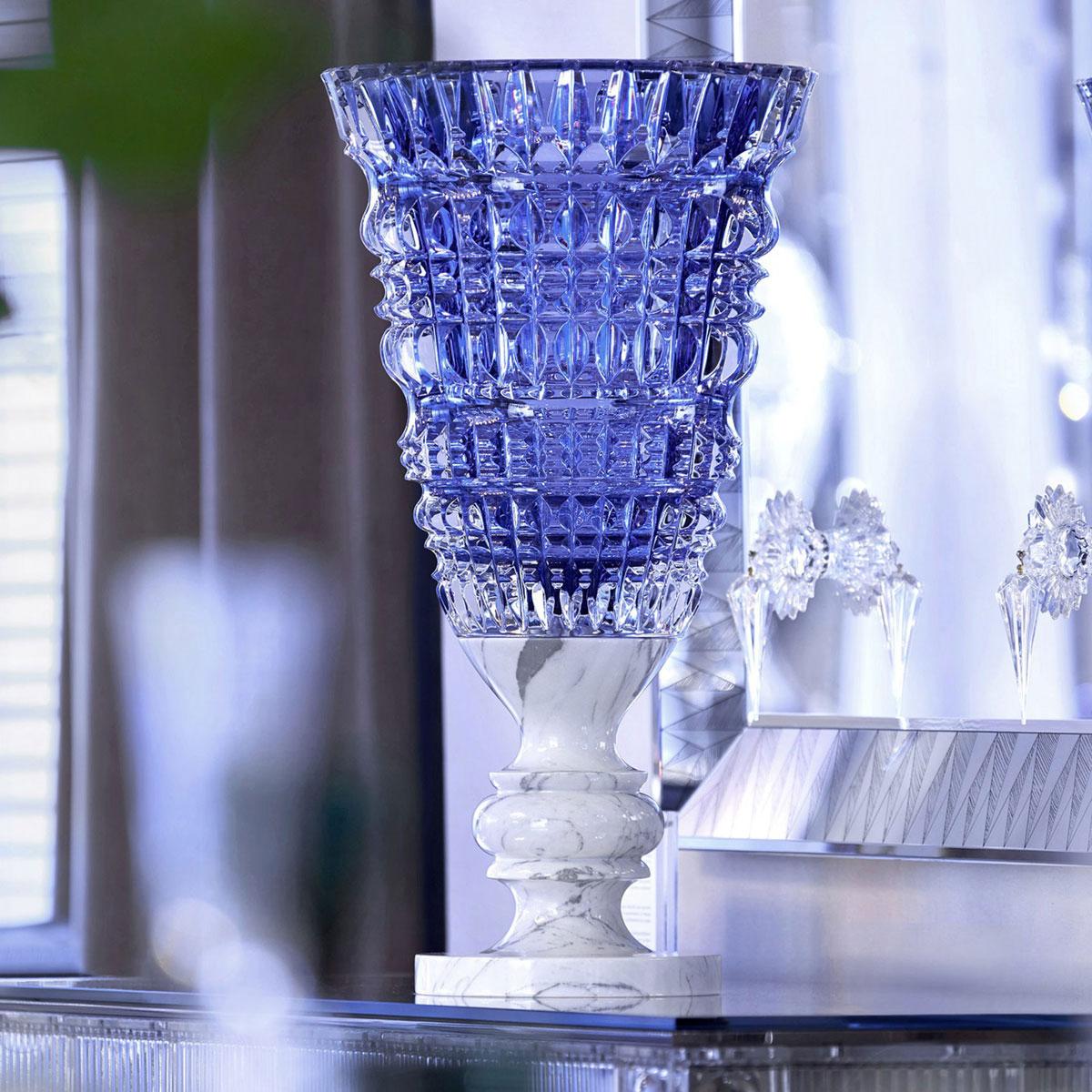 Baccarat Crystal, New Antique Blue Crystal Vase, Limited Edition