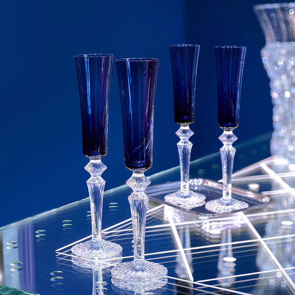Baccarat Crystal, Mille Nuits Flutissimo Midnight Crystal Flutes, Pair