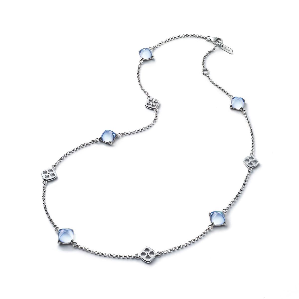 Baccarat Crystal Medicis Mini Necklace Sterling Silver Aqua