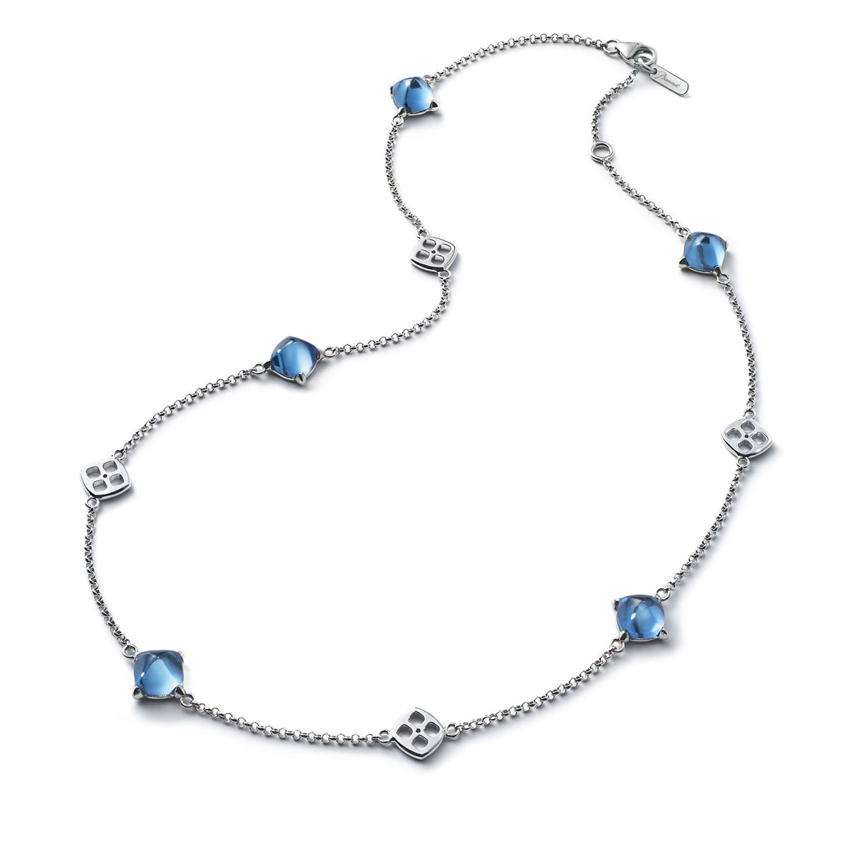 Baccarat Crystal Medicis Mini Necklace Sterling Silver Blue Riviera