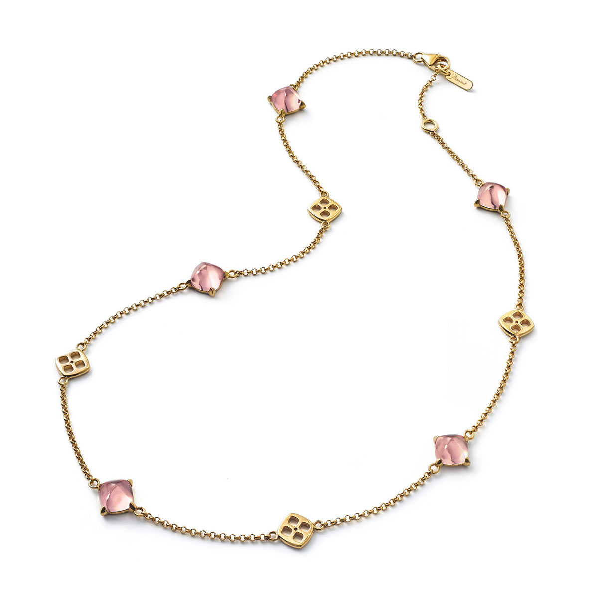 Baccarat Crystal Medicis Mini Necklace Vermeil Gold Pink