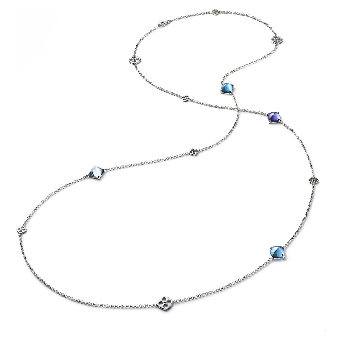 Baccarat Crystal Medicis Mini Long Necklace Sterling Silver Blue Riviera, Aqua and Purple