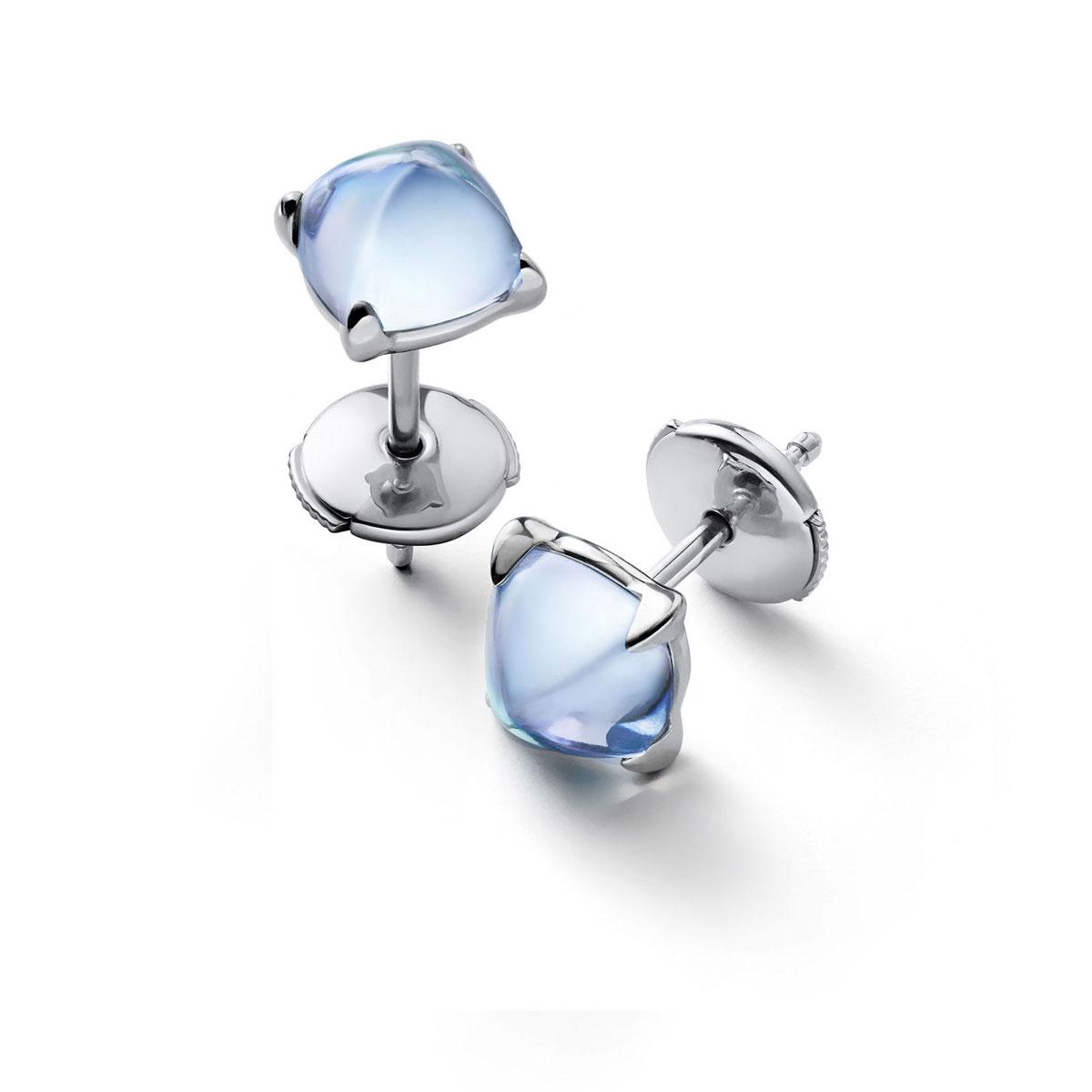 Baccarat Crystal Medicis Mini Stud Earrings Sterling Silver Aqua Mirror