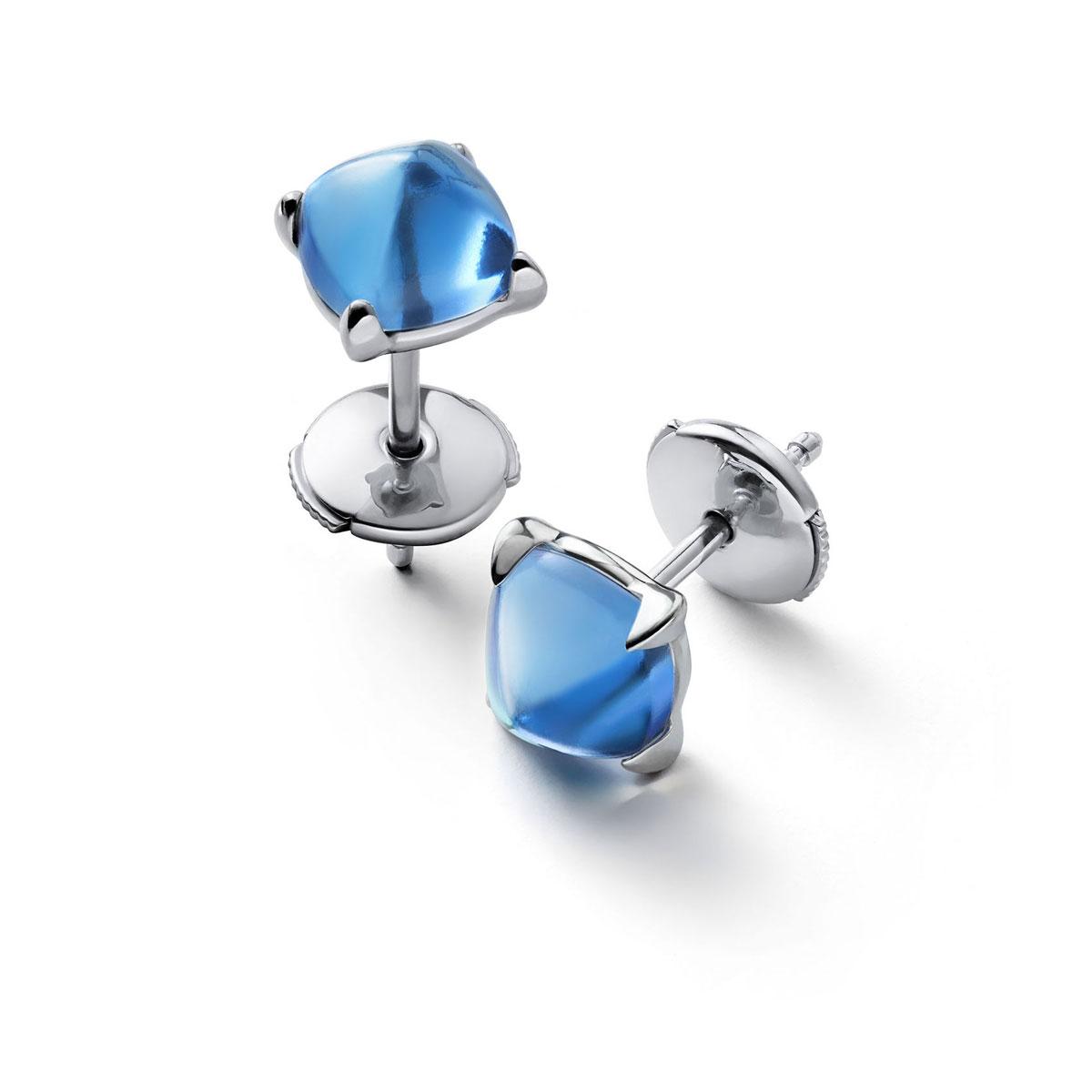 Baccarat Crystal Medicis Mini Stud Earrings Sterling Silver Blue Riviera