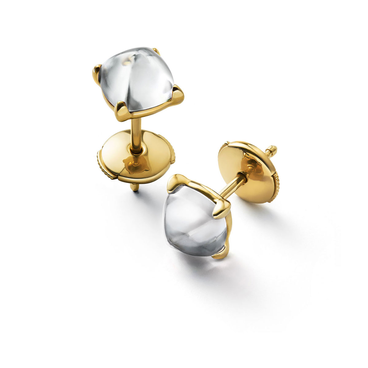 Baccarat Crystal Medicis Mini Stud Earrings Vermeil Gold Clear