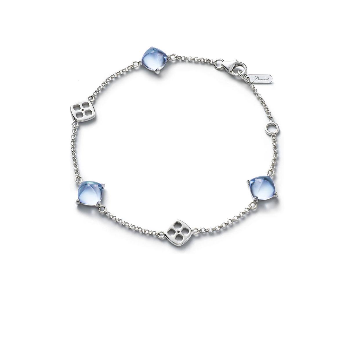 Baccarat Crystal Medicis Mini Chain Bracelet Sterling Silver Aqua