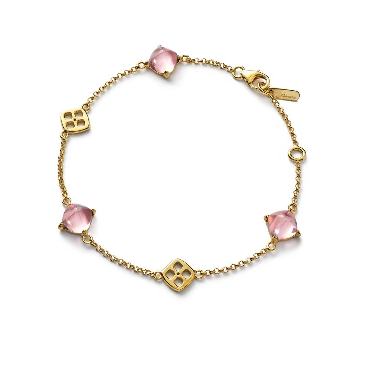 Baccarat Crystal Medicis Mini Chain Bracelet Vermeil Gold Pink