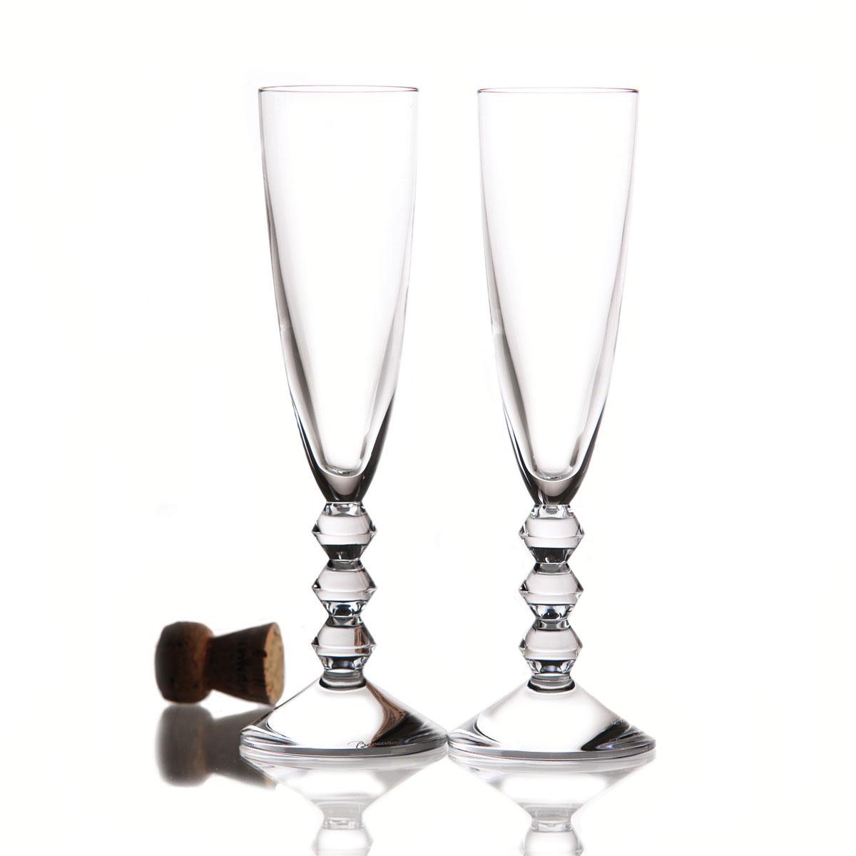 Baccarat Crystal, Vega Clear Crystal Flute, Pair