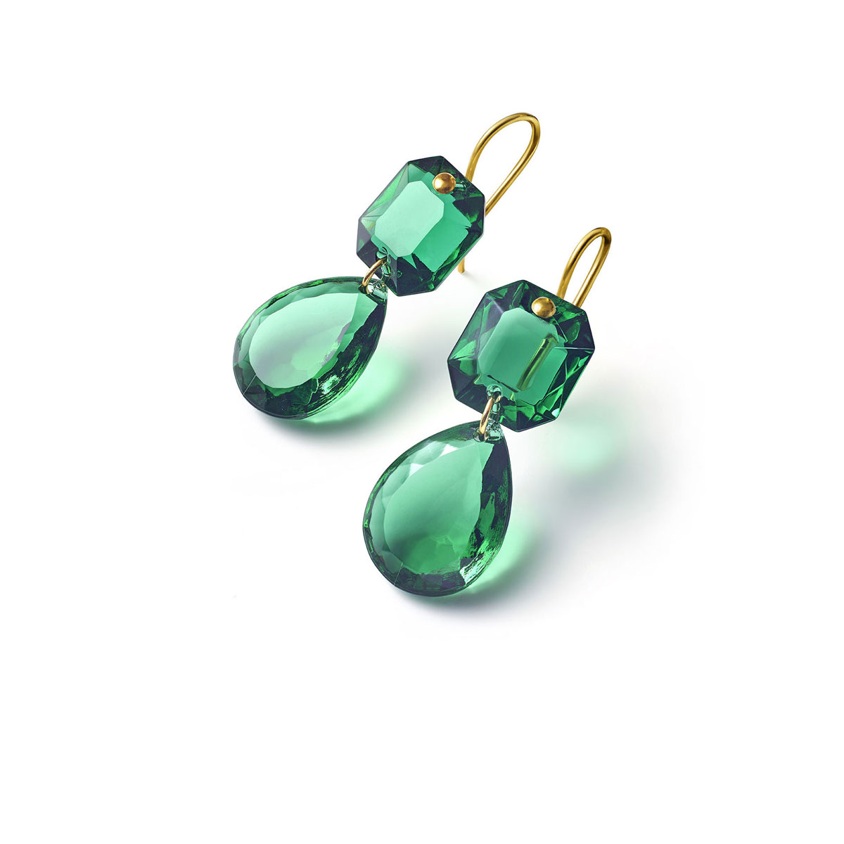 Baccarat Crystal Marie-Helene De Taillac Earrings Large Wire Vermeil Gold Green
