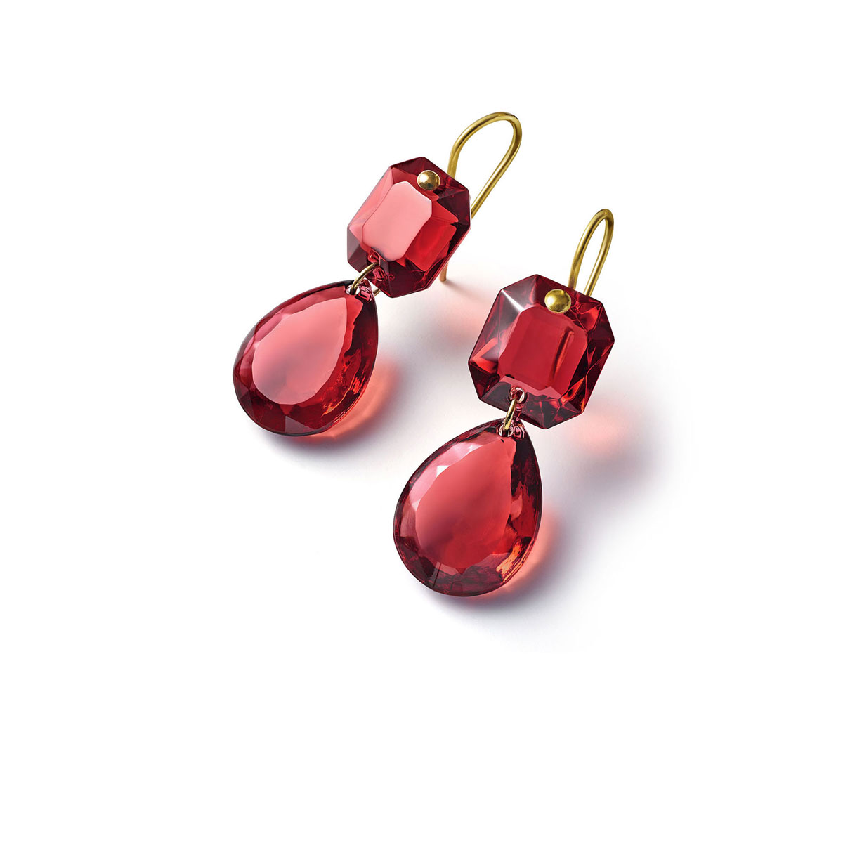 Baccarat Crystal Marie-Helene De Taillac Earrings Large Wire Vermeil Gold Red