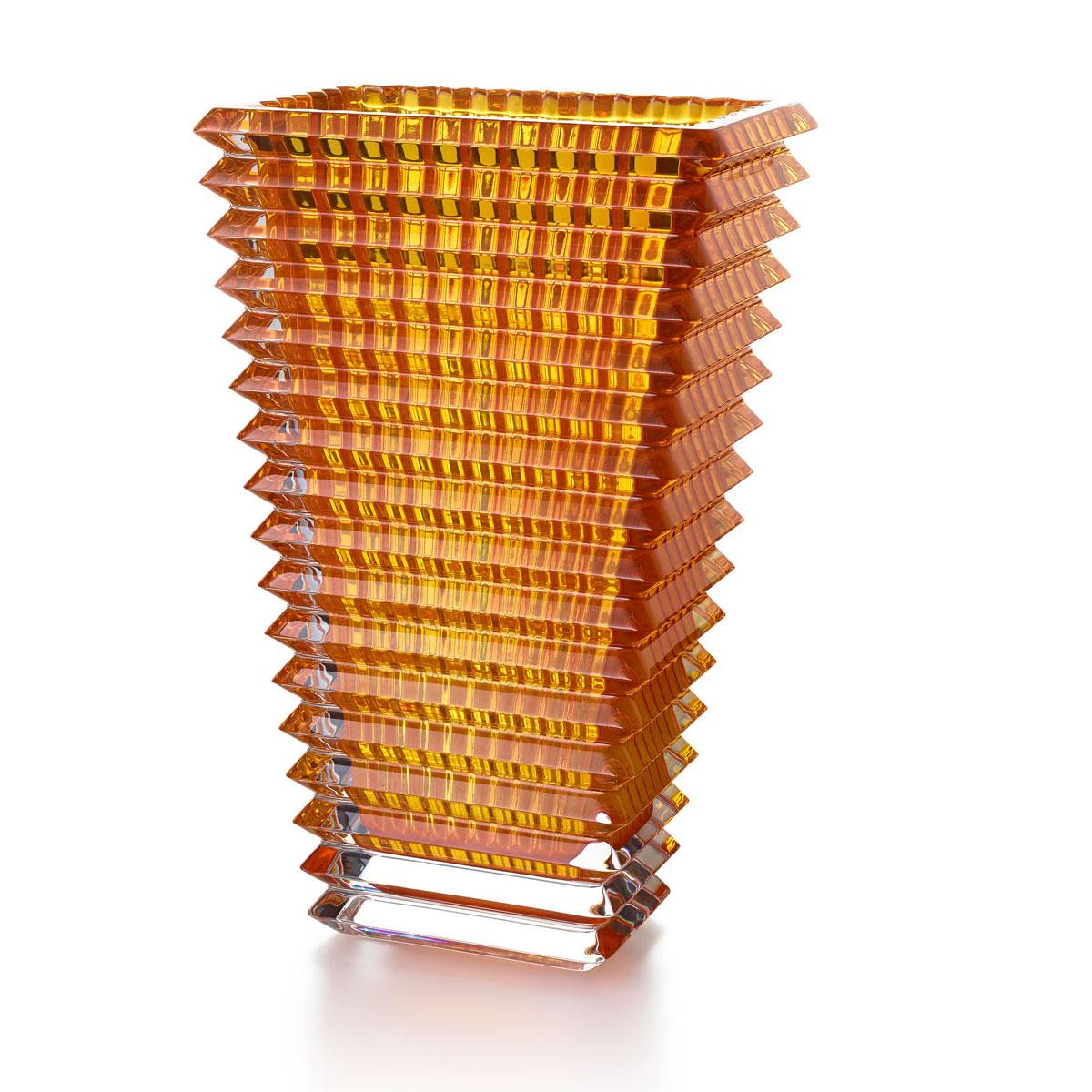 """Baccarat Crystal, Eye 11 3/4"""" Rectangular Vase, Amber"""