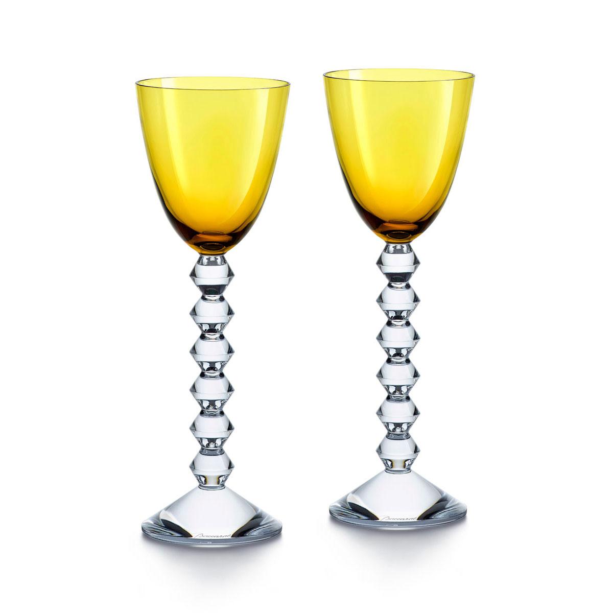 Baccarat Crystal Vega Rhine Wine Amber Glass Pair