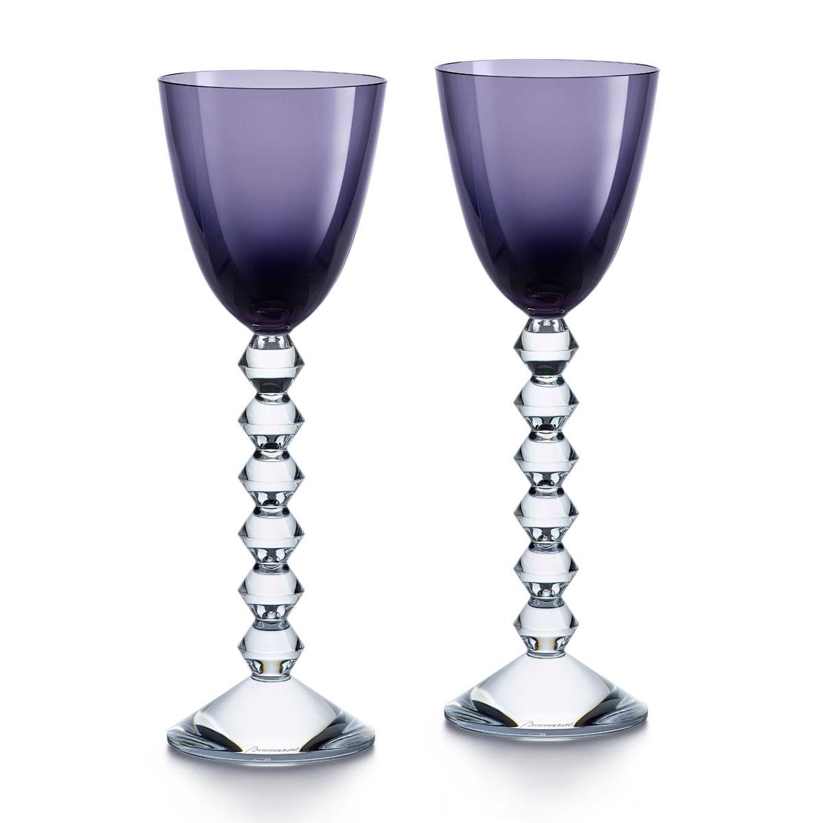 Baccarat Crystal Vega Rhine Wine Purple Glass Pair