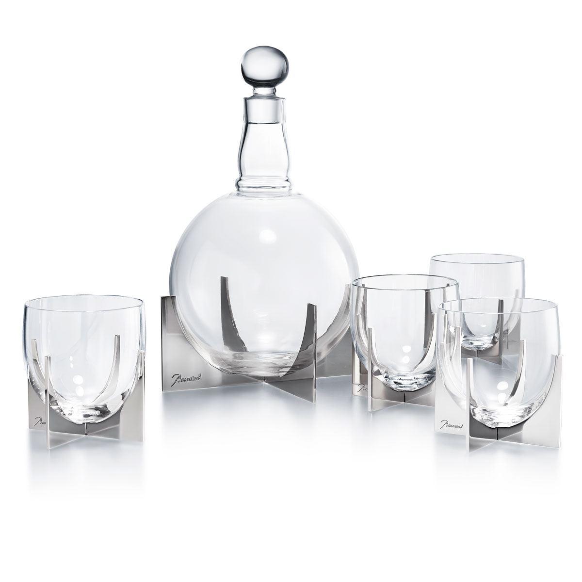 Baccarat Crystal Heritage Paraison Set Decanter and 4 Tumblers