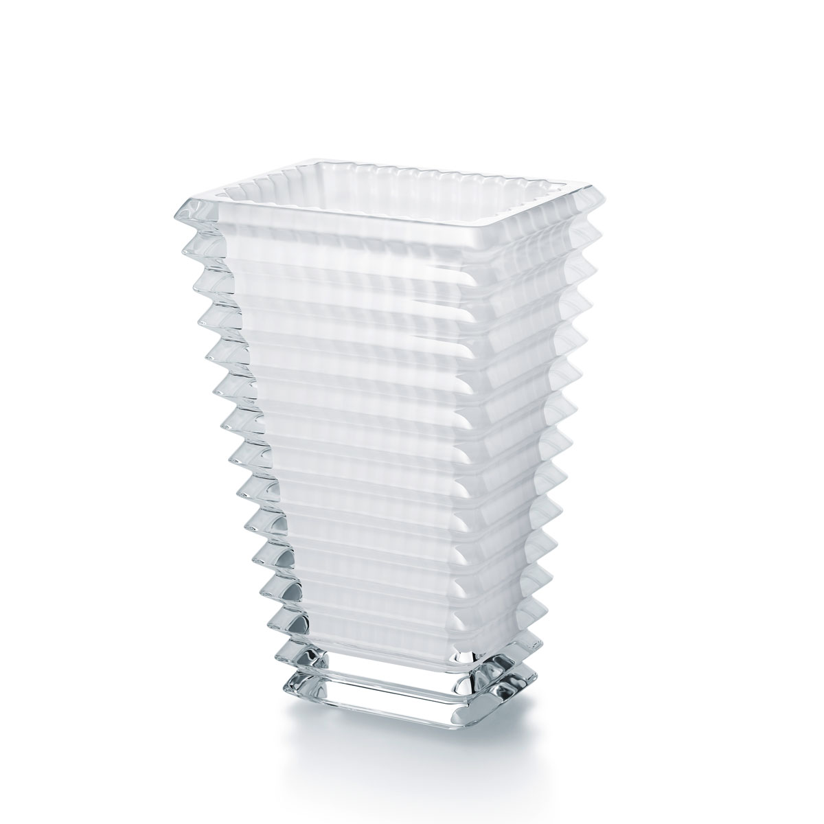 """Baccarat Crystal Eye Rectangular Vase 8"""" White"""