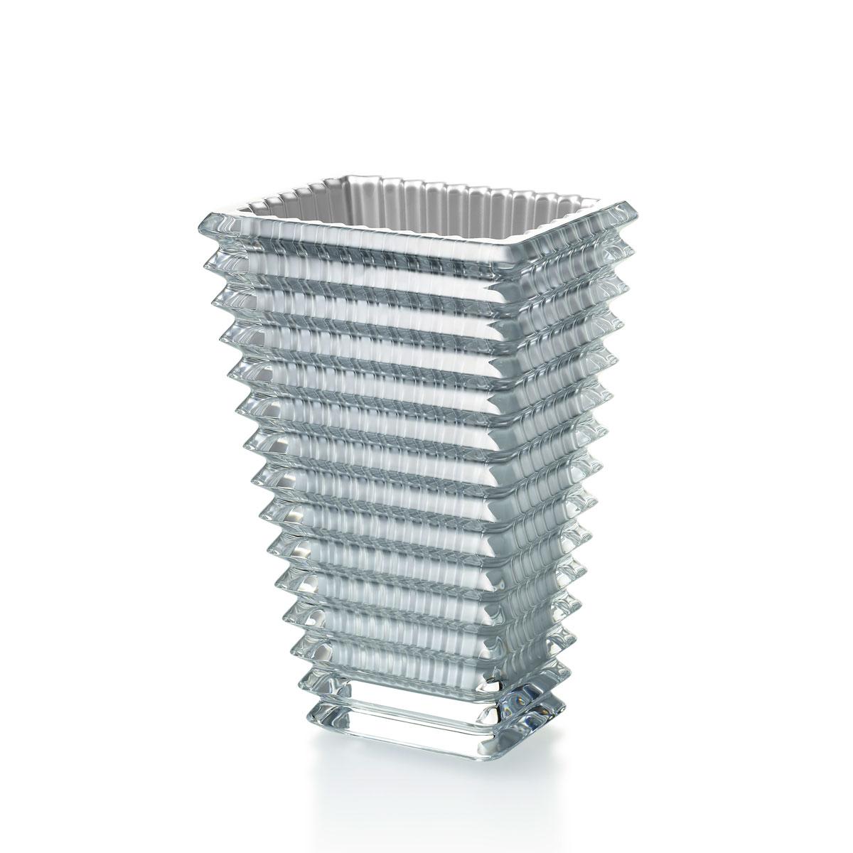 """Baccarat Crystal Eye Rectangular Vase 8"""" Silver"""