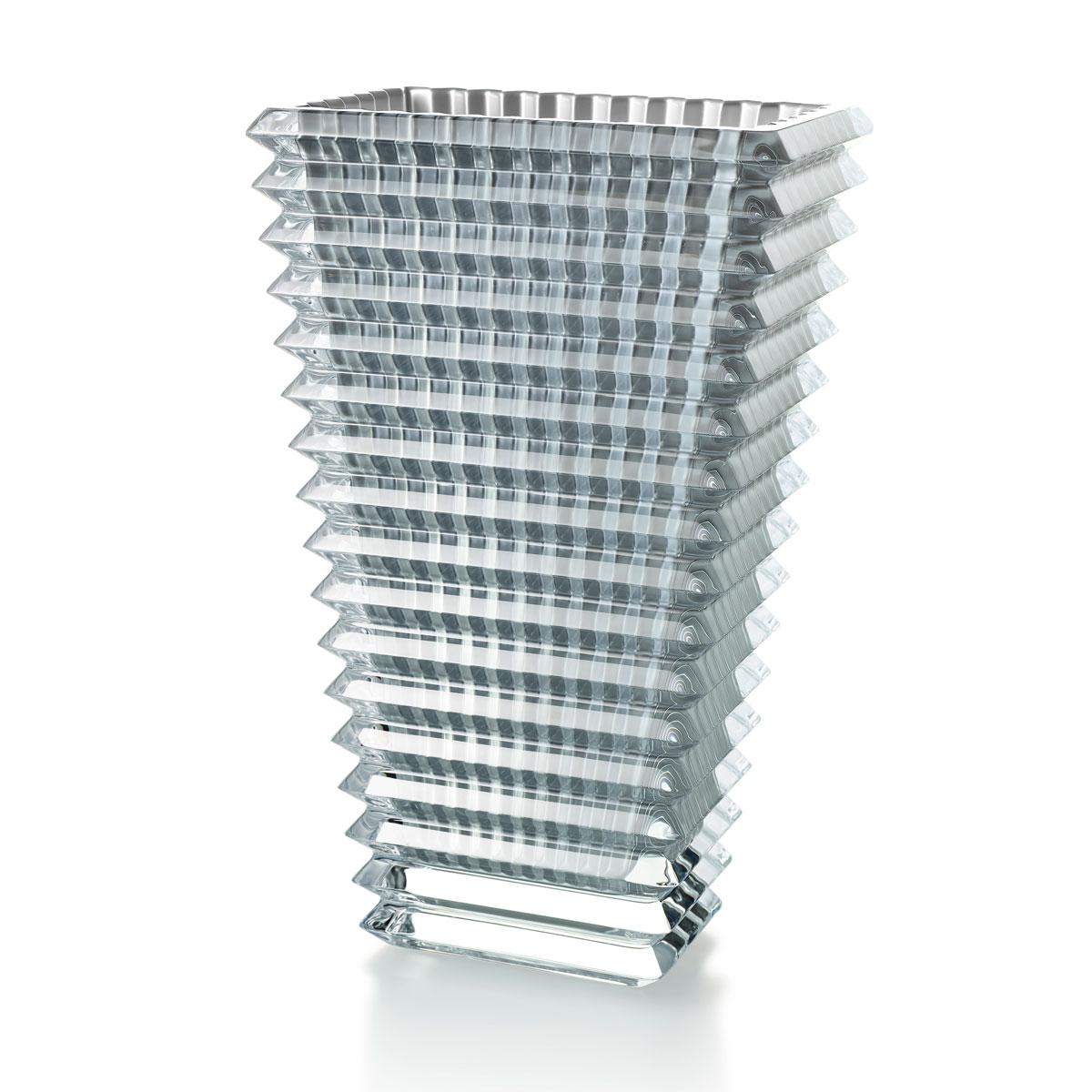 """Baccarat Crystal Eye Rectangular Vase 11 3/4"""" Silver"""