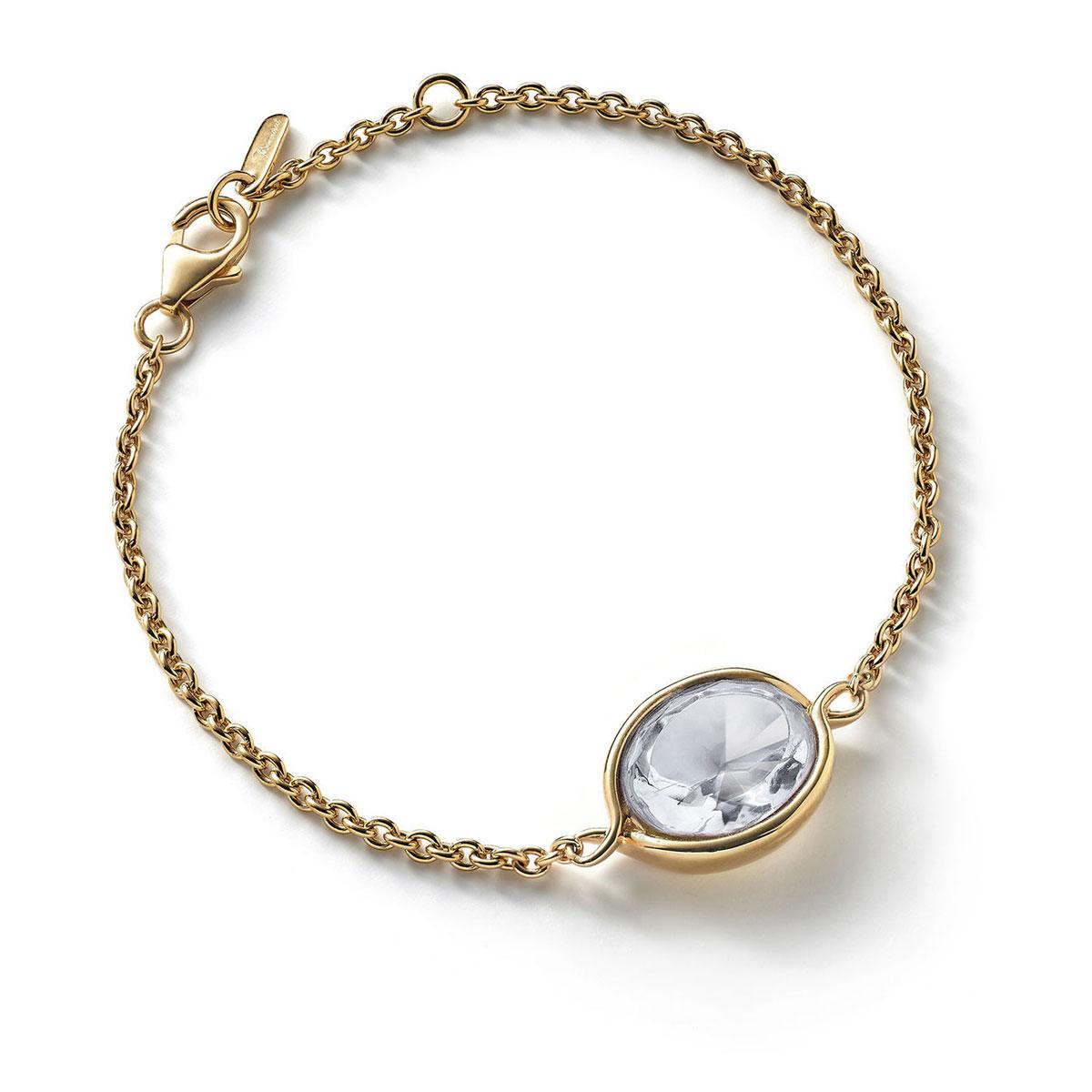 Baccarat Croise Bracelet Vermeil Gold, Clear