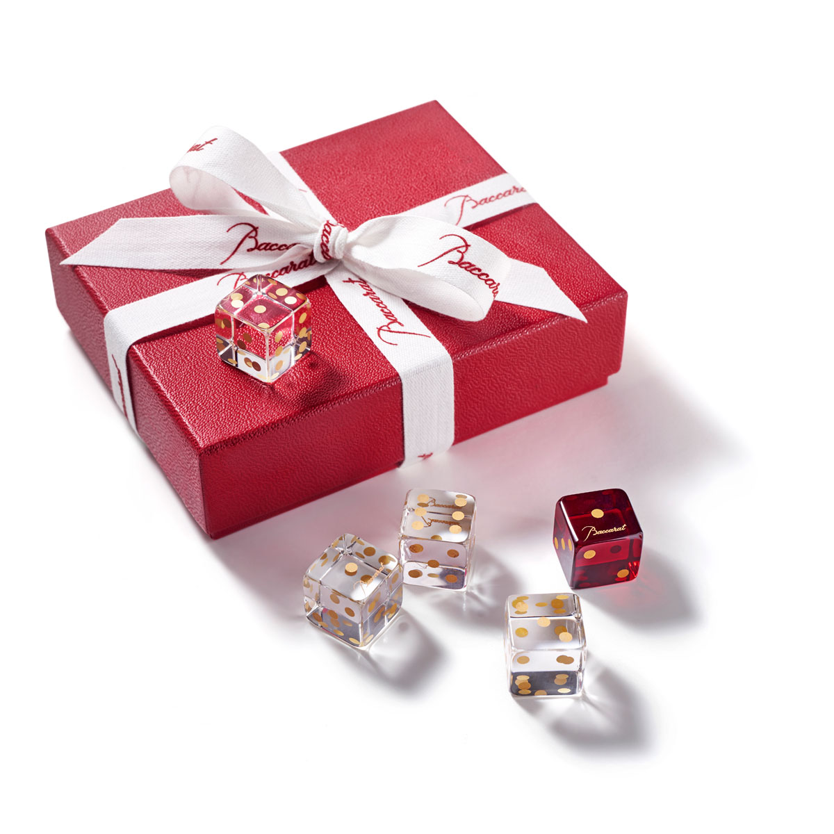 Baccarat Dice Set, 4 Clear, 1 Red