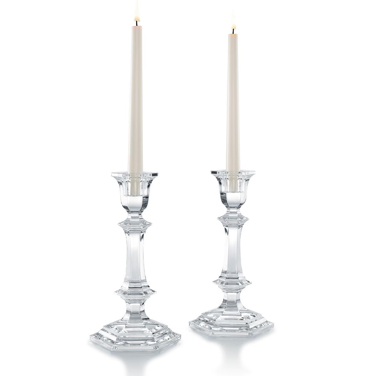 "Baccarat Harcourt 9"" Candlesticks, Pair"