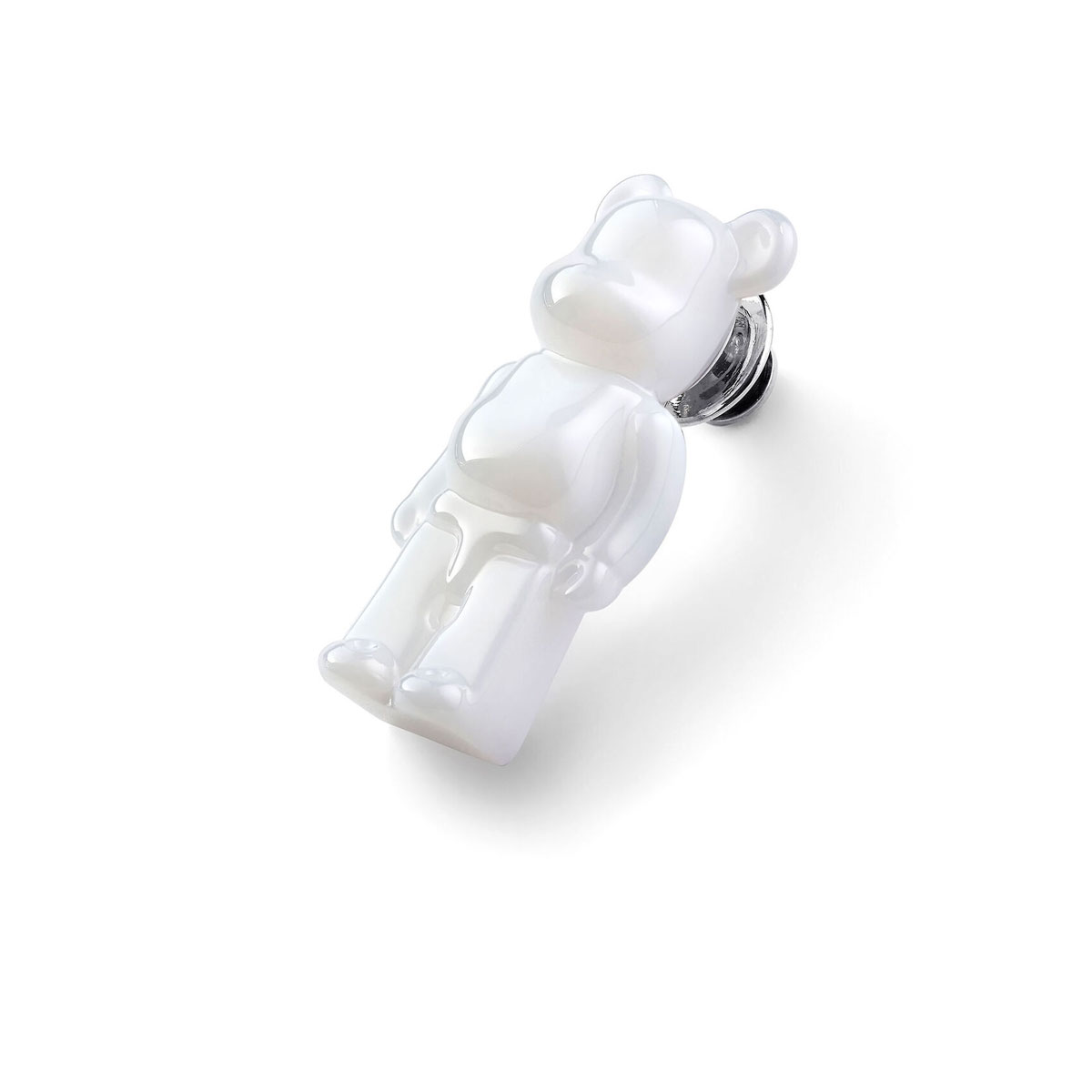 Baccarat BearBrick Silver, White Crystal Pin