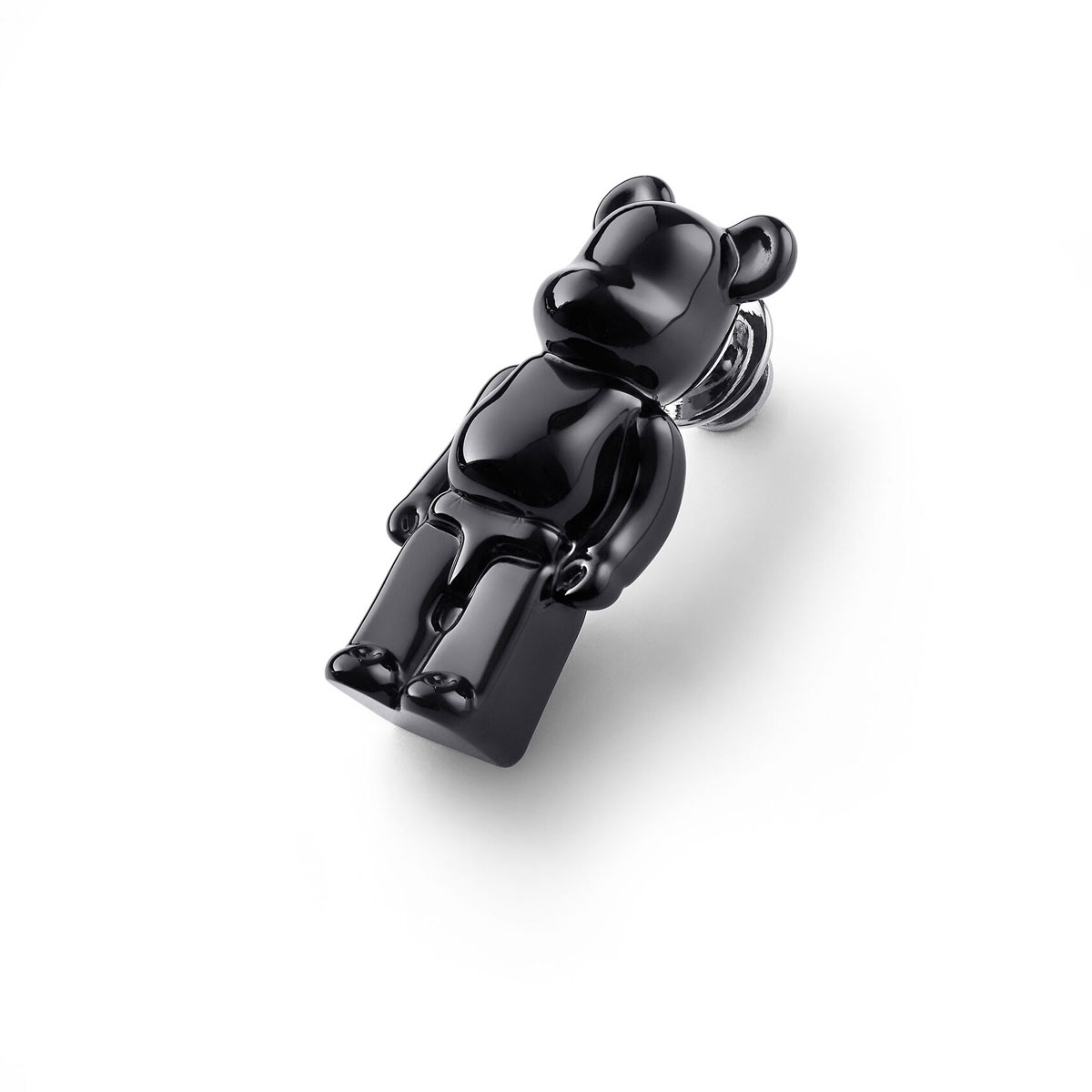 Baccarat BearBrick Silver, Black Crystal Pin