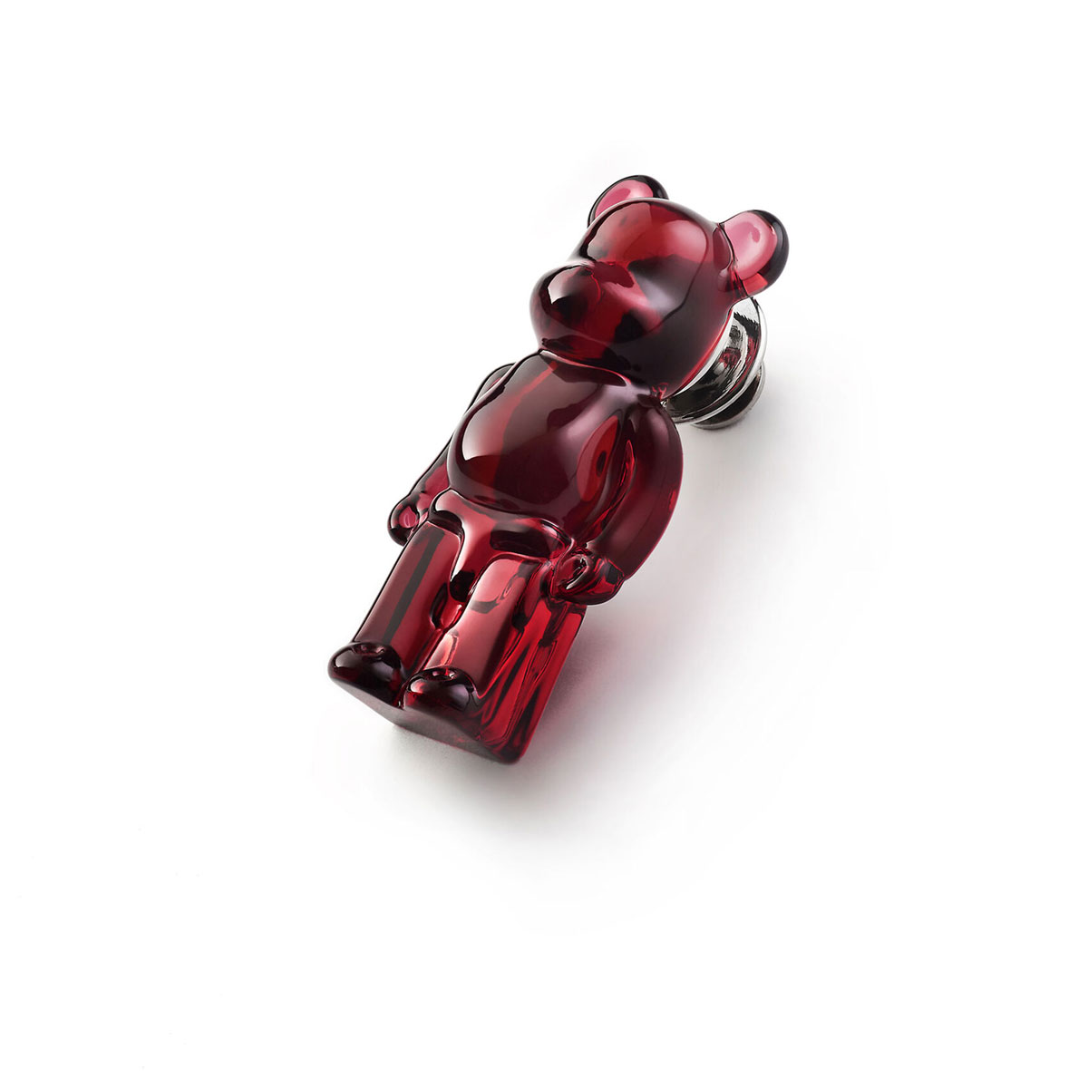 Baccarat BearBrick Silver, Red Crystal Pin
