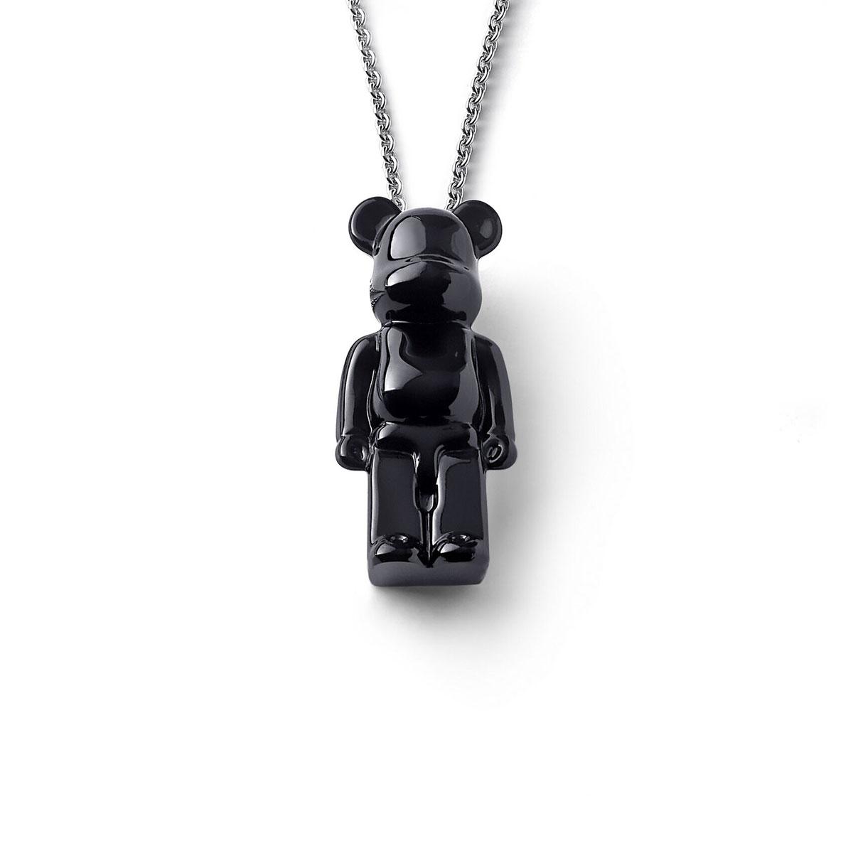 Baccarat BearBrick Long Necklace, Silver, Black Crystal