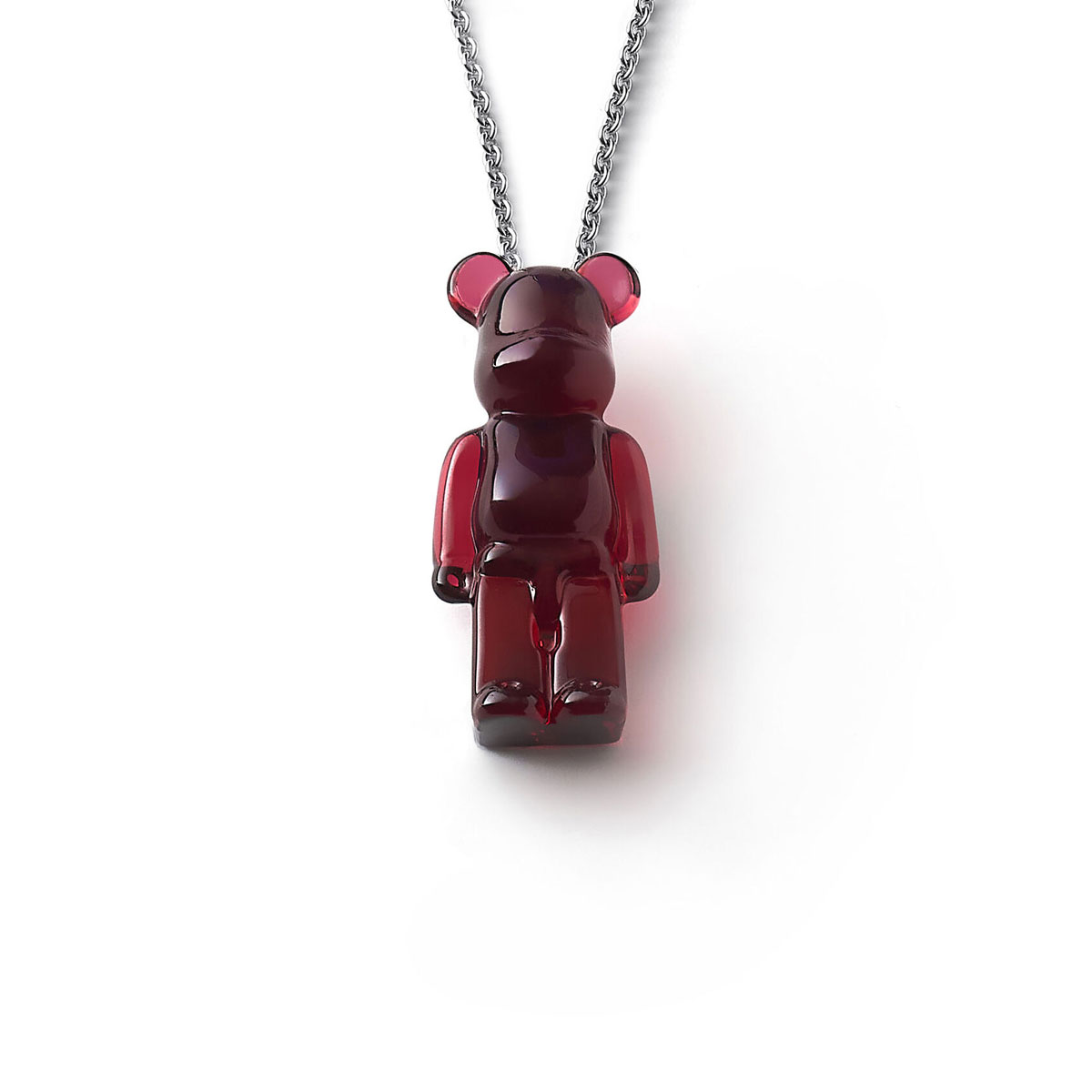Baccarat BearBrick Long Necklace, Silver, Red Crystal