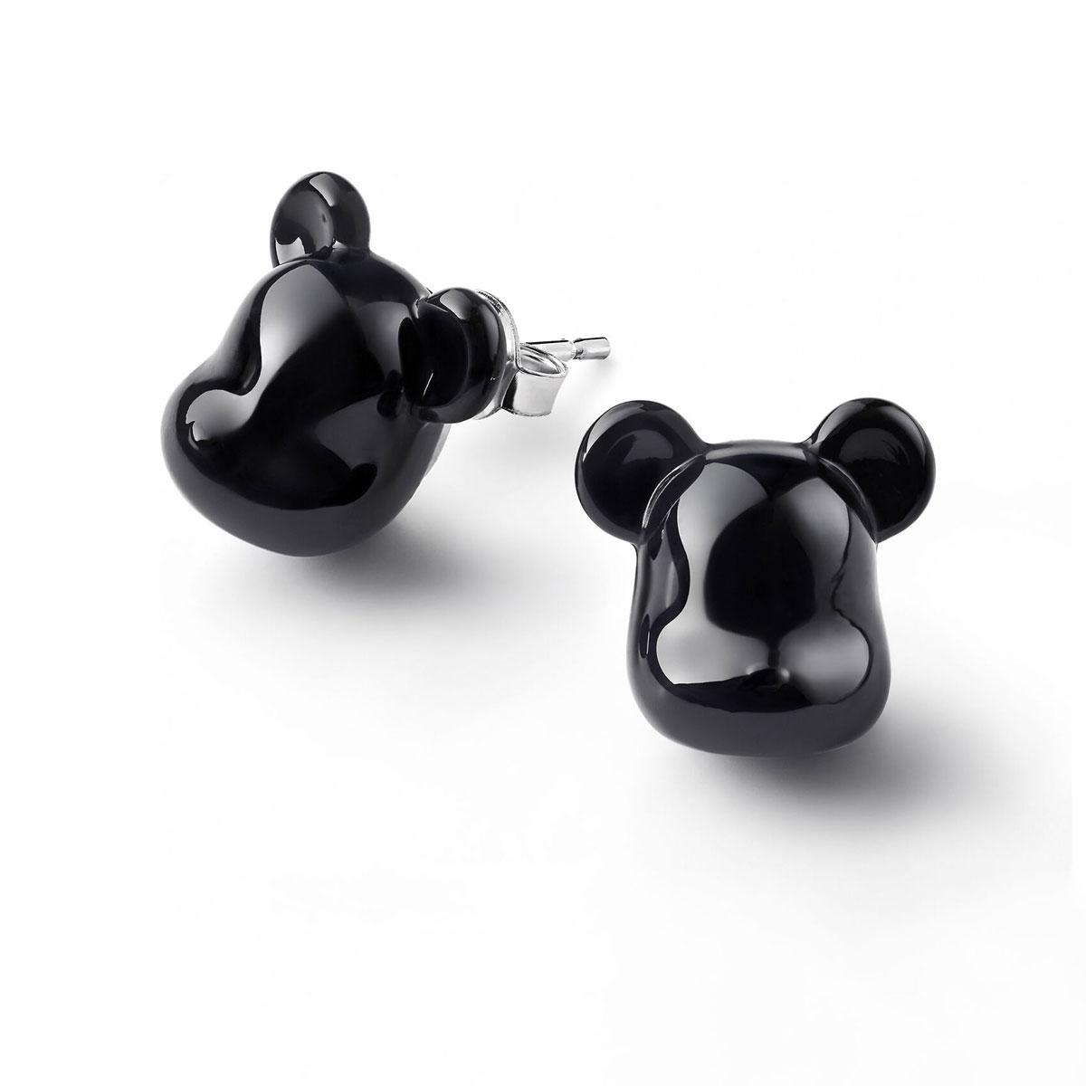 Baccarat BearBrick Stud Earrings, Silver and Black Crystal, Pair