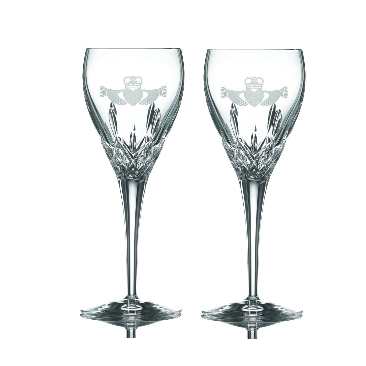 Galway Crystal Claddagh Friendship Wine, Pair