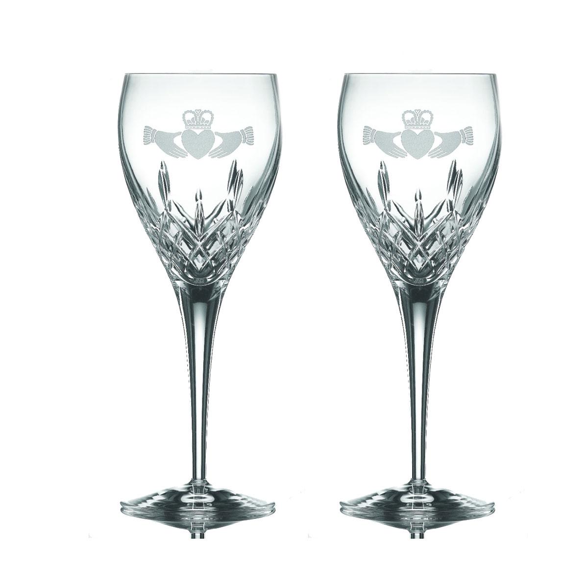 Galway Crystal Claddagh Friendship Goblet, Pair