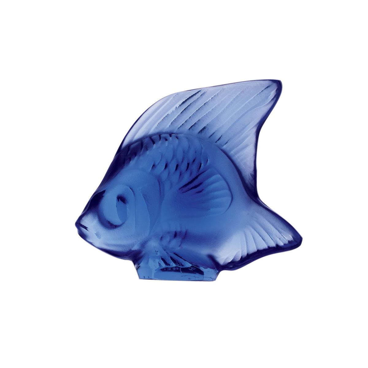 Lalique Crystal, Sapphire Blue Fish Sculpture
