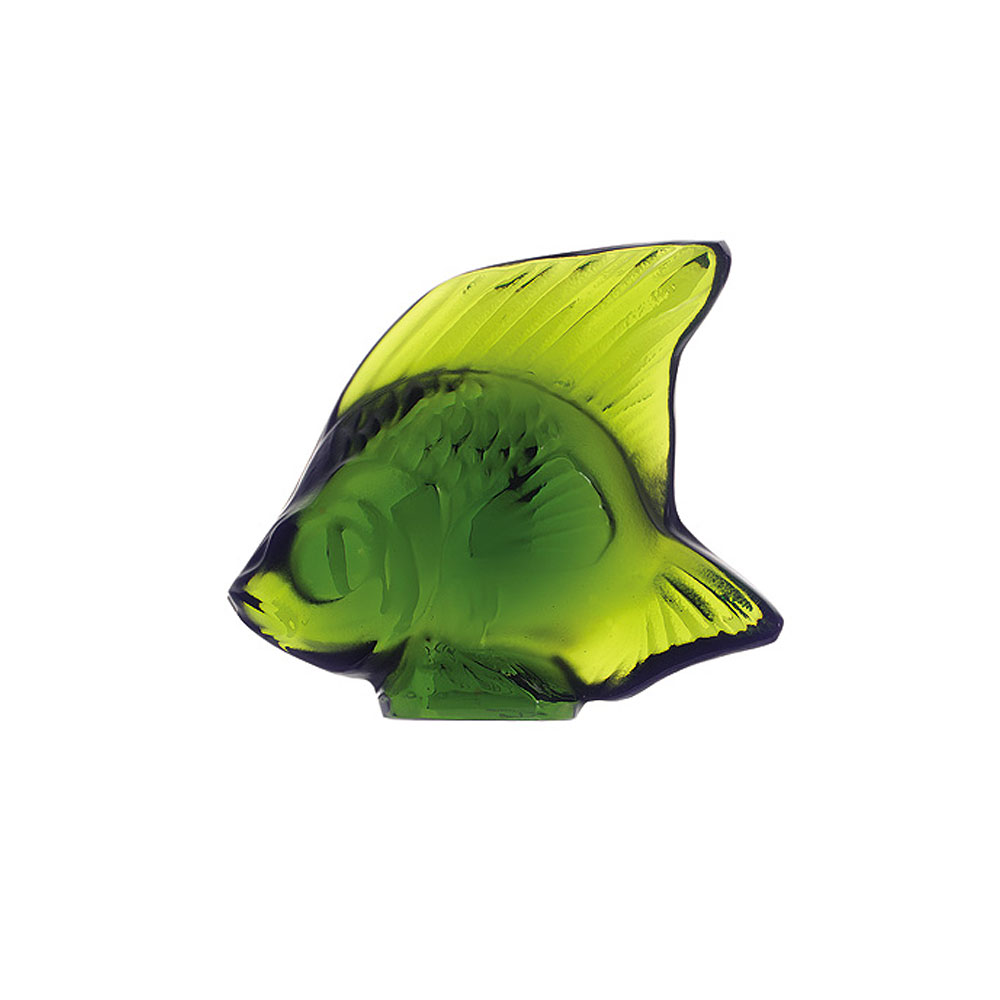 Lalique Crystal, Lime Green Fish Sculpture