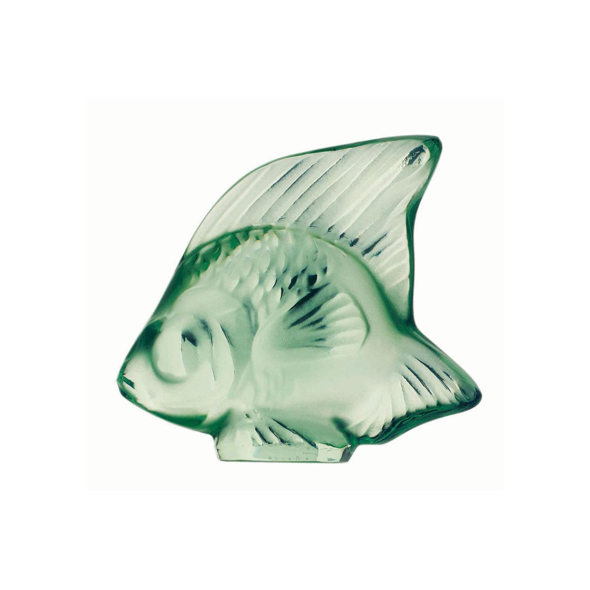 Lalique Crystal, Mint Green Fish Sculpture