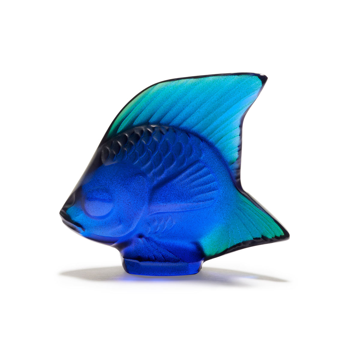 Lalique Crystal, Cap Ferrat Blue Fish Sculpture